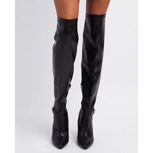 Black Faux Leather Over the Knee Boots NWOT